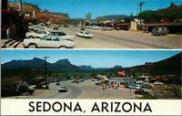 Sedona Arizona~Main Street~Standard Gas Station~Beauty Salon~1950s Hearse~1960s