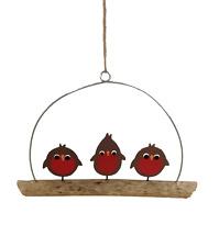 Shoeless Joe Christmas Decoration - Robins on Driftwood - Fun Tree Decoration