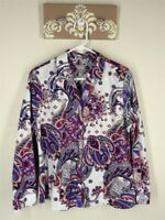 Chico's Button Down Top Sz 2 Large Paisley Print Long Sleeve Wrinkle Resistant