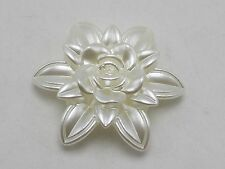 10 Ivory Acrylic Large Pearl Rose Flower Beads Cabochons 55mm 2-Hole Button Bead