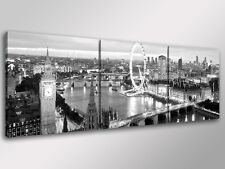 Quadro Moderno 3 pz. LONDRA SKYLINE B/N cm 150x50 arredamento città stampa tela