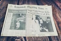 Savannah Morning News Jack Ruby Kills Lee Oswald November 25 1963 John Kennedy