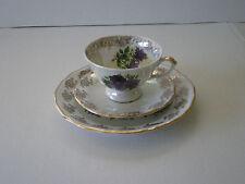VINTAGE POLISH FLORAL GILDED PORCELAIN TEA SET / WALBRZYCH  POLAND