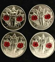 CANADA 2010 4x 25 CENTS COLOURED COQUELICOT 65th Ann. WWII - UNC!