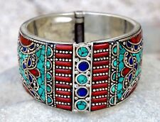 Nepali Tibetan Bracelet Bangle Turquoise Red Coral Carved Ethnic Festival Hippie
