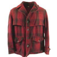 Vintage 40s Field Master Mackinaw Jacket XL 48 Red Plaid Wool Caped Yoke Hunting