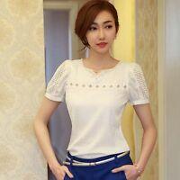1PC Women OL Lace Short Sleeve Slim T Shirt V-Neck Pearl Chiffon Blouse Tops Hot