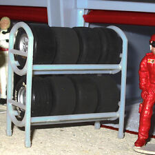 SLOT TRACK SCENICS PIT LANE pneumatico Rack con 8 ruote & PNEUMATICI-Per Scalextric