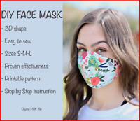 3D Face Mask Sewing Pattern and Step By Step Instruction Sizes S-M-L PRINTABLE