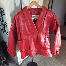 Leather Jacket Women's Wilsons Red Vintage 1980s -1990s thick Leather Size Med