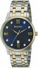 BULOVA $395 MENS DAZZLING DIAMONDS TWO-TONE BLUE DIAL DRESS WATCH w/DATE 98D130