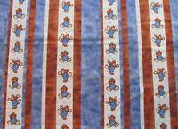 Teddy Bears Baby Stuffed Animals Toy Nursery Stripe on Cotton Fabric By The Yard