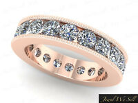 2.30Ct Round Diamond Channel Set Milgrain Eternity Wedding Ring 18K Gold F VS2