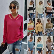 Women Pullover Long Sleeve Winter Warm Casual Jumper Sweater Knitwear Coats UK