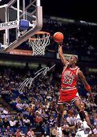 Michael Jordan Rookie Slam dunk Hangtime Basketball Signed Autograph A4 Poster