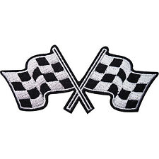 Checkered Flag Embroidered Iron / Sew On Patch Check F1 Racing Car Shirt Badge
