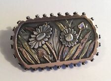 Antique Victorian sterling silver & gold locket brooch, w flowers & leaves