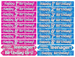 Birthday Banner Blue Pink Decoration 1 2 3 4 5 6 7 8 9 10 11 12 13 14 15 16 17