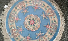 Brand NEW 100% Wool Chinese Rug Carpet ROUND 3X3 9OCM X 90CM  BLUE Rose Floral