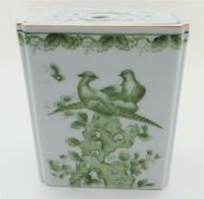 Lj 0222 Green Pheasant Peacock Rectangular Porcelain Flower Frog, 6""
