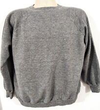 VTG 70'S RAGLAN GRAY SWEATSHIRT Tri blend Pullover Men's MEDIUM Distress soft