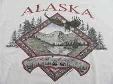 Vintage Prairie Mountain Alaska Eagle Soaring Vacation White T Shirt Size Xl