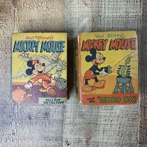 Vintage 1940s MICKEY MOUSE Big Better Little Books Lot Of Two #1483 & #1413