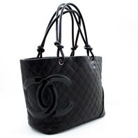 u06 CHANEL Authentic Cambon Tote Large Shoulder Bag Black Quilted Calfskin