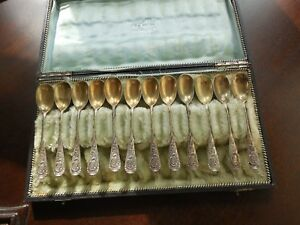 ANTIQUE GERMAN 800 STERL SILVER & Gold Wash Demitasse Spoon Set: EDUARD FOEHR: