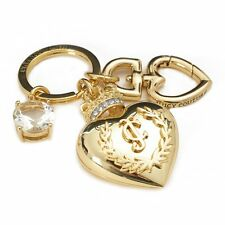 Juicy Couture Gold Tone Large Heart Crown Crystal Bling Key Fob Chain #WJW569 **