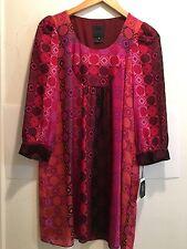 NWT New Anna Sui Fuchsia multi Silk Printed  Dress Size 4 Small