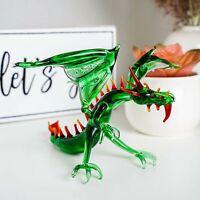 "Glass Dragon Figurine / Handmade Hand Blown Art Glass Mythical Animal 6"""