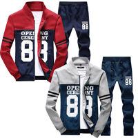New Men 2Pcs/set Print Sweat Tracksuit Outwear Sports Suit Tops Pants Fashion
