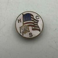 1916 Antique HCS Holy Cross Society American Flag Bible Screwback Lapel Vtg R1