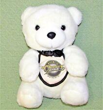 "Vintage CHEERS TEDDY BEAR TV SHOW 1994 11"" Plush Stuffed White Animal Bar APRON"