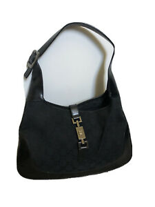 Authentic Vintage GUCCI Jackie Black Canvas & Leather Hobo Shoulder Bag - WOW!!