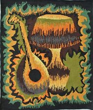 Vintage MCM Retro Mandolin Lamp Ambiance SEG Needlepoint Tapestry Psychedelic