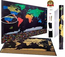 World US Map Poster US Scratch Off Ink with US States   Glossy w/ BONUS GIFTS