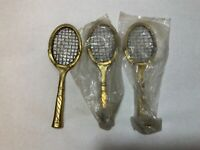 Brass Tennis Racquet Paper Weight Lot of 3 New Old Stock