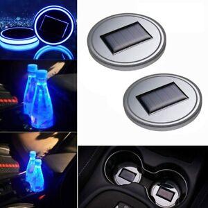 2pcs Solar Cup Pad Car LED Light Cover Interior Decoration Lights Lamps - Blue