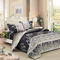 black floral bedding set: 1 duvet cover & 2 pillow shams  full/queen/king/cal k