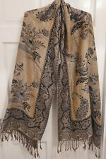 Gold coloured elegant scarf wrap with silver thread and leafy design
