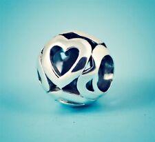 Genuine SOLID 925 Sterling Silver charm bead heart Love openwork fits bracelets
