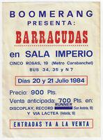 BARRACUDAS Concert Flyer Handbill / SALA IMPERIO Madrid : July 21, 1984 !!