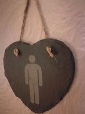 Slate Hanging Heart Shaped Men's Room Toilet Signs