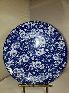 """HOME ESSENTIALS OXFORD DESSERT PLATE BLUE WITH WHITE FLOWERS 8"""""""