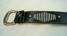 Southwestern Style Black Leather Belt Vintage 1990s from Liz Claibourne Sz S