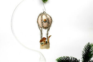 Vintage spun cotton and paper,Christmas Ornaments,Hot air balloon with a lady.
