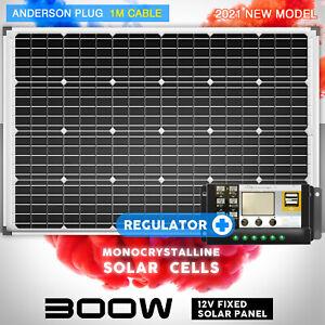 12V 300W Solar Panel Kit Mono Fixed Camping Carava 20A Controller Charging USB