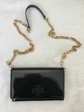 Tory Burch Charlie Patent Leather Flat Wallet Crossbody Clutch Black (MSRP$299)